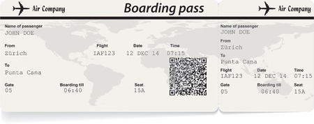plane ticket: Vector image of airline boarding pass ticket with QR2 code. Isolated on white. Vector illustration