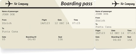 business class travel: Vector image of airline boarding pass ticket. Isolated on white. Vector illustration