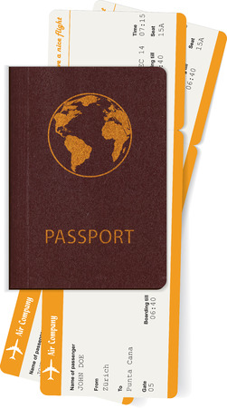 Passport and two boarding passes. Travel concept. Vector illustration Çizim