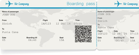airplane ticket: Vector image of airline boarding pass ticket with QR2 code. Isolated on white. Vector illustration