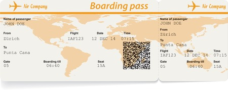 Vector image of airline boarding pass ticket with QR2 code. Isolated on white. Vector illustration Vector