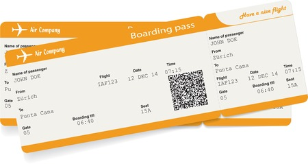airplane ticket: Vector image of two airline boarding pass tickets with QR2 code. Isolated on white. Vector illustration