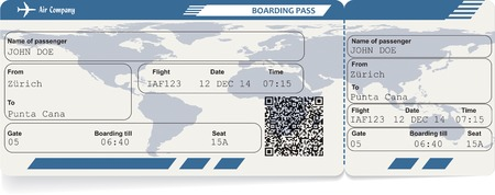 airline boarding pass ticket with QR code. Isolated on white