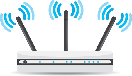 Wireless Wi-Fi router on white background
