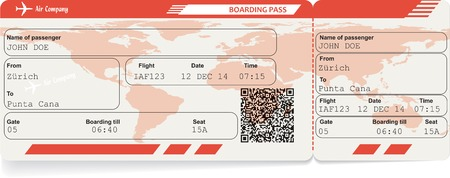 airplane ticket: Vector image of airline boarding pass ticket with QR2 code.