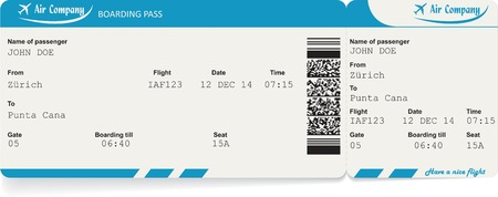 business class travel: Vector image of airline boarding pass ticket with QR2 code. Isolated on white. Vector illustration