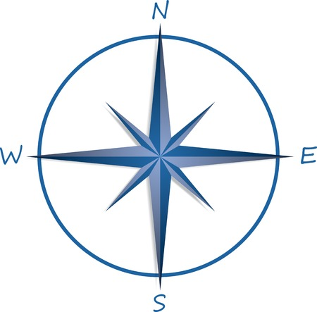 yellow adventure: Compass rose on white background . Vector illustration