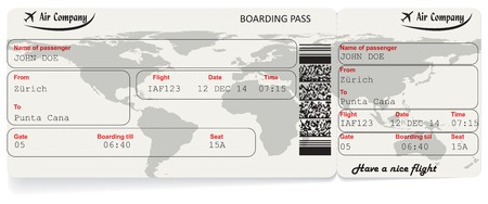 Vector image of airline boarding pass ticket with QR2 code. Isolated on white. Vector illustration Stock Vector - 37424122