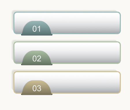 bookmarks: Three bookmarks. Infographic design elements. Vector illustration