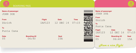 airplane ticket: Variant of vector image of airline boarding pass ticket with QR2 code. Isolated on white. Vector illustration