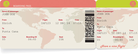 business class travel: Variant of vector image of airline boarding pass ticket with QR2 code. Isolated on white. Vector illustration