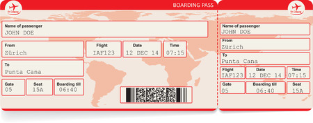 Vector image of airline boarding pass ticket with QR2 code. Isolated on white. Vector illustration 版權商用圖片 - 39261637
