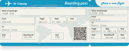 tickets: Vector image of airline boarding pass ticket with QR2 code. Isolated on white. Vector illustration
