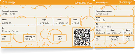 boarding card: image of airline boarding pass ticket with QR2 code. Isolated on white. Vector illustration Illustration