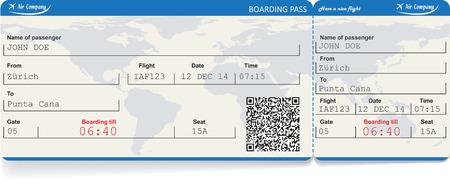 Vector immagine di compagnia aerea biglietto d'imbarco con codice QR2. Isolati su bianco. Illustrazione vettoriale