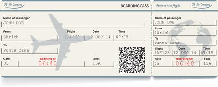 Vector beeld van airline boarding pass ticket met QR2 code. Geïsoleerd op wit. Vector illustratie Stock Illustratie