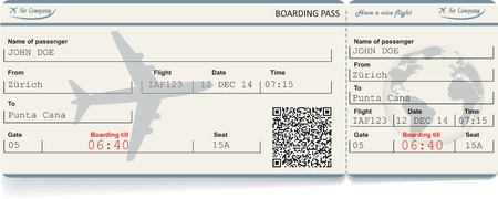 Vector image of airline boarding pass ticket with QR2 code. Isolated on white. Vector illustration Vector Illustration
