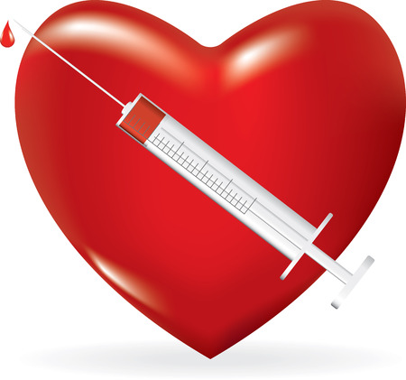 Syringe with a drop of medicine and heart. Vector illustration