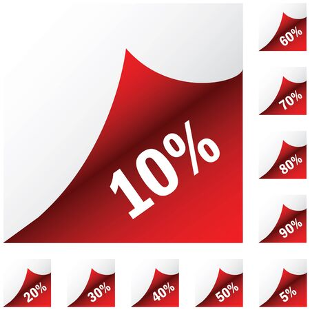 market bottom: red paper stickers percent discount. Isolated on white background. Vector illustration