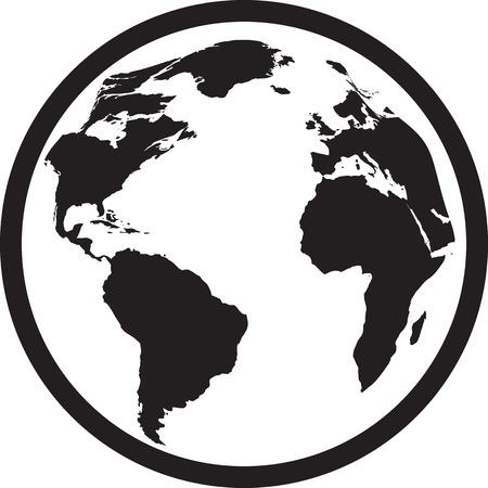 economic activity: Icon of black and white globe. Vector illustration Illustration