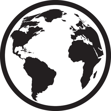 Icon of black and white globe. Vector illustration Vectores