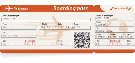 Vector beeld van airline boarding pass ticket met QR2 code. Geïsoleerd op wit. Vector illustratie