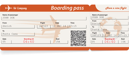 flights: Vector image of airline boarding pass ticket with QR2 code. Isolated on white. Vector illustration