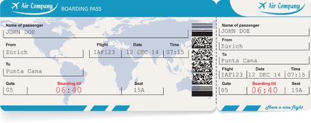 Vector Image der Fluggesellschaft Bordkarte Ticket mit QR2-Code. Isoliert auf weiß. Vektor-Illustration Vektorgrafik