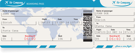 passes: Vector image of airline boarding pass ticket with QR2 code. Isolated on white. Vector illustration
