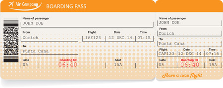 business class travel: Pattern of airline boarding pass ticket with QR2 code. Isolated on white. Vector illustration