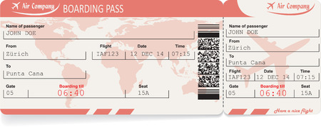 boarding card: Pattern of airline boarding pass ticket with QR2 code. Isolated on white. Vector illustration