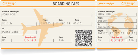 boarding: Vector image of airline boarding pass ticket with QR2 code. Isolated on white. Vector illustration