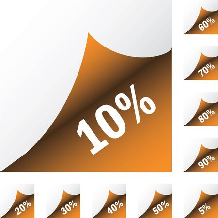 Orange paper stickers percent discount. Isolated on white background. Vector illustration Vector