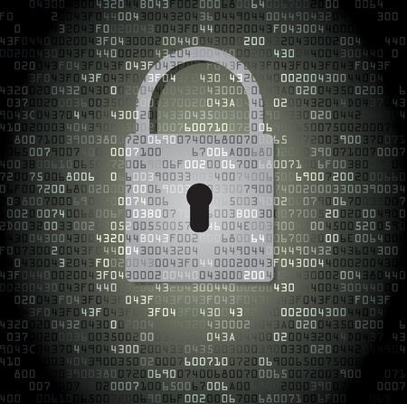 internet background: Lock on background with HEX-code. Vector illustration Illustration