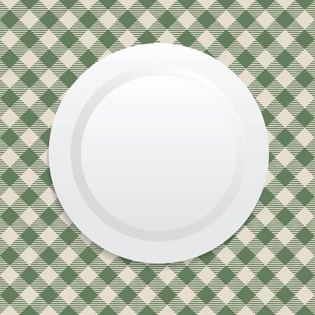 a tablecloth: Vector illustration on white plate on green tablecloth