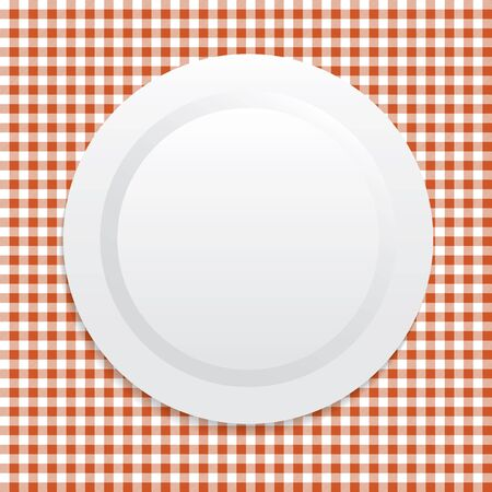white plate: Vector illustration on white plate on red tablecloth