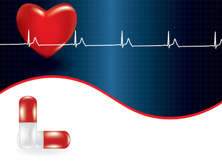 medical symbol: Background of concept of medical problem with heart. Vector illustration
