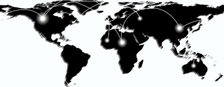 paths: Map of world with trading paths between points A and B. Vector illustration