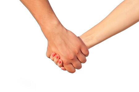 whie: Hands of two people close up. Isolated on whie background Stock Photo