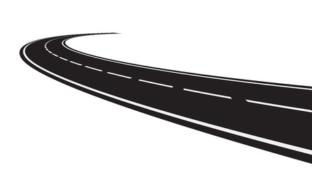 Vector illustration of perspective of curved road
