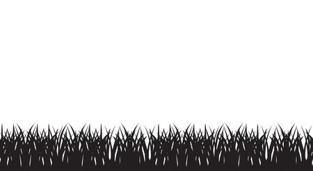 Vector naadloze illustratie van van silhouet van gras grens. Zwart en witte kleuren Stock Illustratie