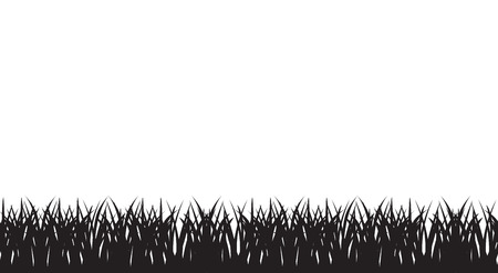 Vector seamless illustration of of silhouette of grass border. Black and white colors