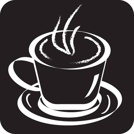 cafe latte: Black and white sketch of cup of coffee. Vector illustration Illustration