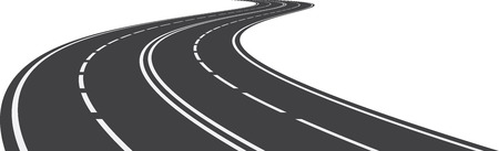 Vector illustration of perspective of curved road Vector Illustration