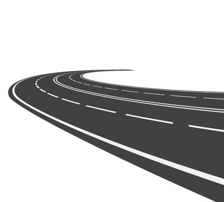 curved road: Vector illustration of perspective of curved road