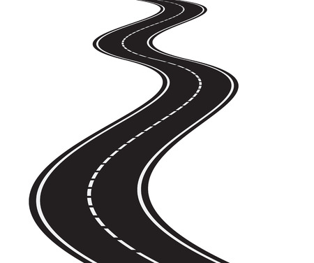 illustration of perspective of curved road
