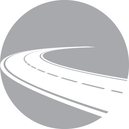 Vector illustration of logo with perspective of curved road Stock Illustratie