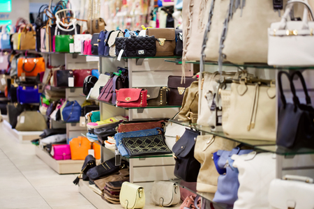 female clothing: A lot of handbags in the shop