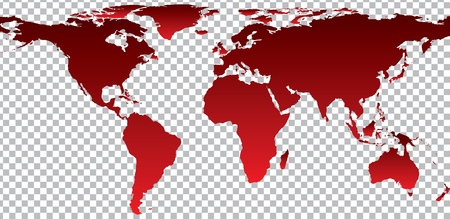 Red map of world on transparent background. Vector illustration Illustration