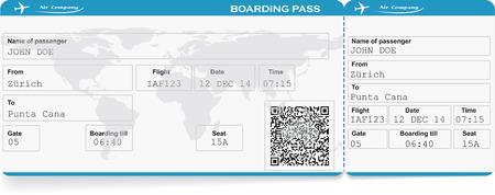 Motif de la compagnie aérienne carte d'embarquement billet avec le code QR2. Isolé sur blanc. Vector illustration Vecteurs